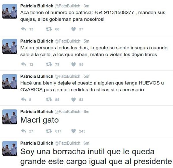 Los tweets en la cuenta de Patricia Bullrich