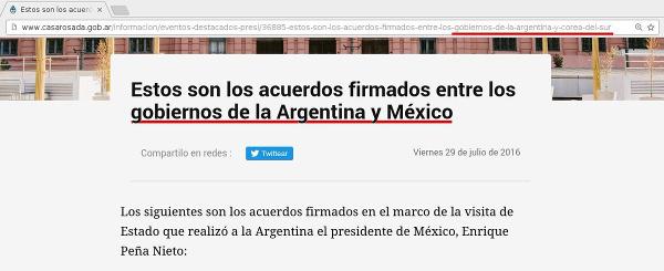 Nota editada en Casa Rosada