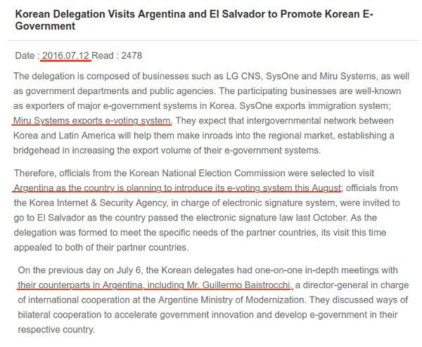 Comunicado del Ministerio del Interior de Corea del Sur