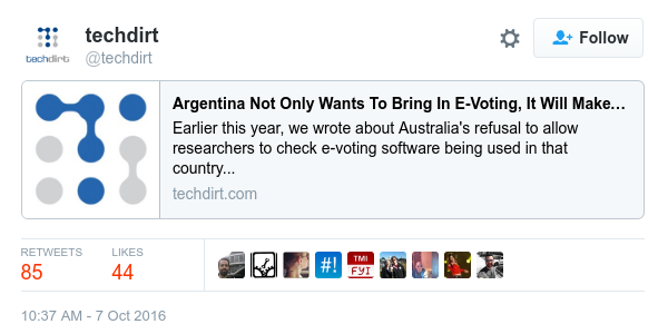 Tweet de Techdirt