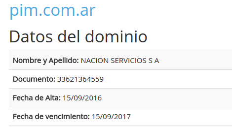 pim.com.ar en NIC Argentina