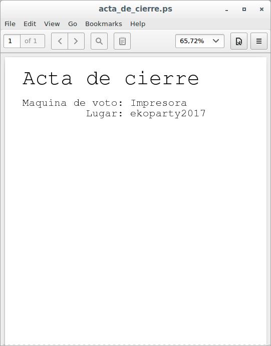 Acta de cierre en un visor de PostScript