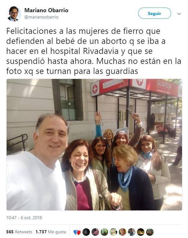 Mariano Obarrio y su grupo 'pro vida'