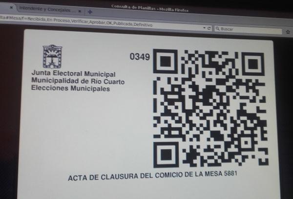 Código QR de un acta